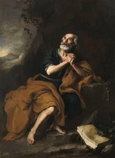 San Pedro penitente de los Venerables. Bartolomé Esteban Murillo. Óleo sobre lienzo, 155 x 210 cm.h. 1675. Sevilla, Abengoa.